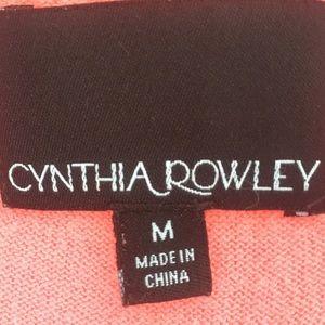 Cynthia Rowley Sweaters - Deep V Button Tunic Cardigan L Sleeve Peach Coral